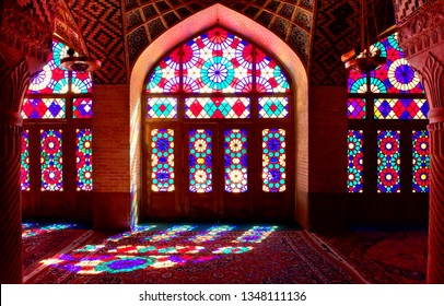 Shiraz, Iran, 18 Feb, 2019: This is inside Nasir ol Molk mosque or pink mosque with low light , a very famous and beautiful traditional mosque in Shiraz , Iran.