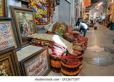 Shiraz, Iran, 6 September 2017 Colorful old Vakil Bazaar. selling rugs. Iranian style ancient market. Covered bazaar with persian with beautiful carpet.