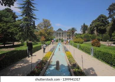 Shiraz, Iran - April 17 2019.  The channel in Eram Garden of Shiraz.in Iran.