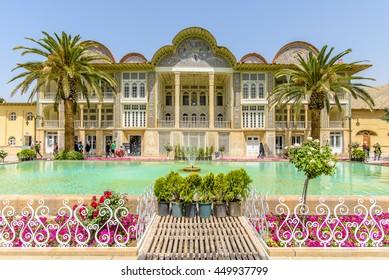 SHIRAZ, IRAN ?? APRIL 27, 2015: Eram Garden with turquoise pool