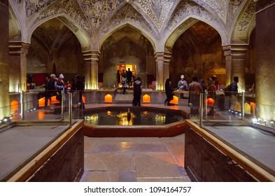 Shiraz, Iran - April 27, 2018: Famous Vakil public baths in Shiraz Iran