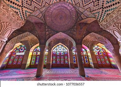 SHIRAZ, IRAN - APRIL 3, 2018: Nasir-ol-molk Mosque known also as Pink Mosque, in Shiraz, Iran.