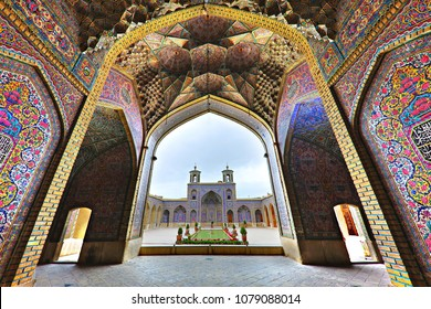 SHIRAZ, IRAN - APRIL 5, 2018: Nasir-Ol-Molk Mosque known also as Pink Mosque, in Shiraz, Iran