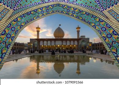 SHIRAZ, IRAN - APRIL 5, 2018: Holy shrine of Shah Cheragh, an important religious site, in Shiraz, Iran.