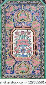 "Shiraz, Iran, Aug 24 2015: Nasir-ol-molk Mosque (""pink mosque"") built during the Qajar dynasty. Tile mural artwork."