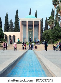 Shiraz, Iran - August 1, 2016 : Iranian tourists visiting the Tomb of Saadi, a mausoleum dedicated to the 13th century Persian poet Saadi from Shiraz.