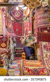 Shiraz, Iran - December 24, 2015: Traditional iranian carpets shop in Vakil Bazaar, Shiraz, Iran. Vakil Bazaar is the most important tourist attraction in Shiraz, Iran.