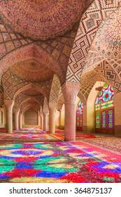 Shiraz, Iran - December 27, 2015: Nasir Al-Mulk Mosque in Shiraz, Iran, also known as Pink Mosque