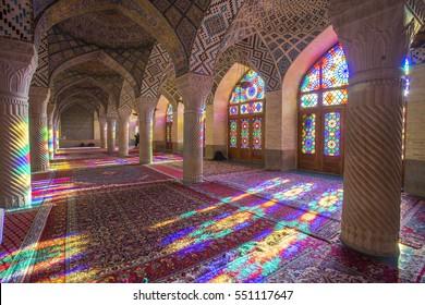 Shiraz, Iran - December 27, 2016: Nasir Al-Mulk Mosque in Shiraz, Iran, also known as Pink Mosque