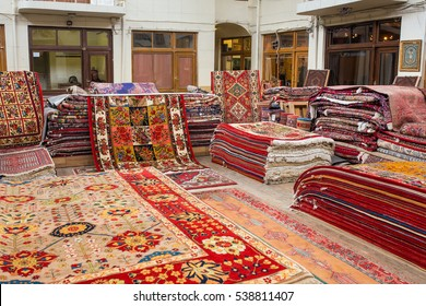 Shiraz, Iran - December 7, 2015: Traditional iranian carpets shop in Vakil Bazaar, Shiraz, Iran