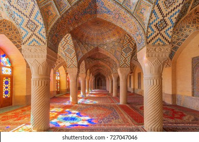 Shiraz, Iran - January 2: The decoration of the traditional mosque Nasir al-Mulk on January 2, 2017 in Shiraz, Iran. Nasir al-Mulk (al -Molk) Mosque, or Masjed-e Naseer ol Molk, or Pink Mosque.