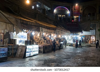 Shiraz, Iran - July 31, 2016 : Night view of Vakil bazaar, main city market and popular tourist attraction