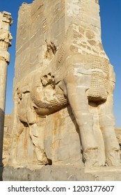 SHIRAZ, IRAN - JUNE 19, 2007: Bas-relief of a lion at the Gate of Nations of Persepolis in Shiraz, Iran. Persepolis is a UNESCO World Heritage site.