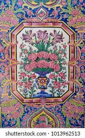 SHIRAZ, IRAN - JUNE 20, 2007: Detail of the wall decoration of the Nasir al-Mulk mosque in Shiraz, Iran.