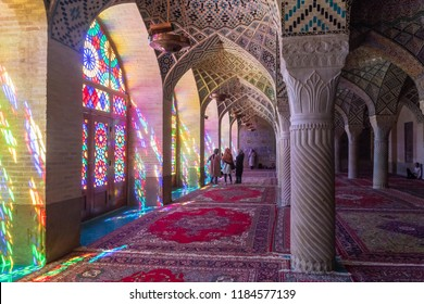 Shiraz, Iran - June 2018: Inside of Nasir ol Molk Mosque also known as Pink Mosque, one of the most famous mosques in Shiraz