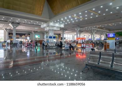 Shiraz, Iran - June, 2018: Shiraz Shahid Dastgheib International Airport departure terminal architecture. Shiraz Airport is one of the busiest airports in Iran.