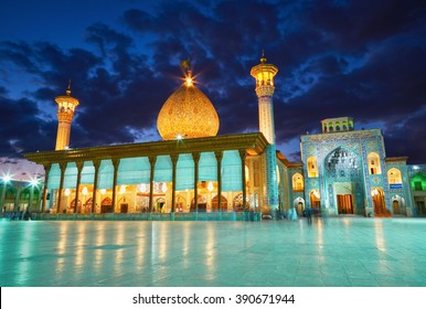 SHIRAZ, IRAN - March 01, 2016: Shah Cheragh mosque after sunset. Shiraz, Iran