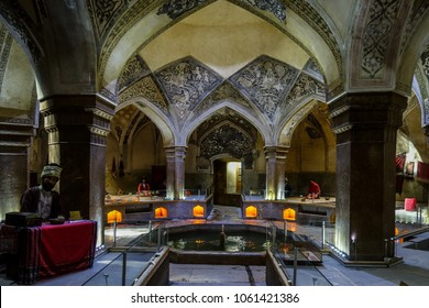 Shiraz, Iran - March 06, 2018: famous Vakil historical bath house in Shiraz with wax figures, Iran.