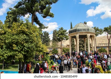 SHIRAZ, IRAN - MARCH 22, 2014 - The Tomb of Hafez and its associated memorial hall are two memorial structures erected in of Shiraz, Iran, in memory of the celebrated Persian poet Hafez.