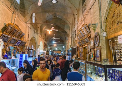 Shiraz, Iran - March 25, 2018: Inside of Vakil Bazaar. Traditional market in the historic center of the city