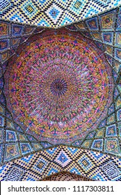 Shiraz, Iran - March 26, 2018: Detail of the ceiling in Nasir Ol-Molk mosque, also famous as Pink Mosque in morning. Shiraz. Iran