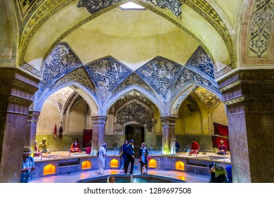 SHIRAZ, IRAN - MAY 2017: Vakil Bath House Ceiling with Blue Color Ornament Pillars