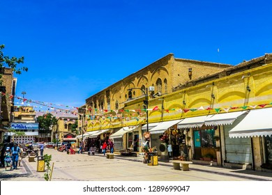 SHIRAZ, IRAN - MAY 2017: Vakil Bazaar Souvenir Shops and Stores with Blue Sky Background
