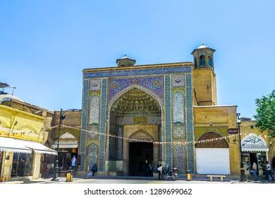 SHIRAZ, IRAN - MAY 2017: Vakil Bath Main Entrance Gate Iwan with Blue Tiles Ornament
