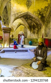 SHIRAZ, IRAN - MAY, 2017: Vakil Bath House with Puppets Dressed in Traditional Medieval Persian Costumes