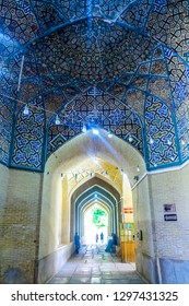SHIRAZ, IRAN - MAY 2017: Vakil Mosque Corridor with Blue Tiles Ornament Ceiling