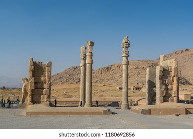 Shiraz, Iran, November 10th, 2017: Lots tourist at the Ruins of the Gate of All Nations in the Persepolis in Shiraz, Iran. The ceremonial capital of the Achaemenid Empire. UNESCO World Heritage