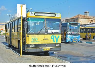 SHIRAZ, IRAN - NOVEMBER 17, 2018 - Shiraz city bus, produced by Iran Khodro Diesel company