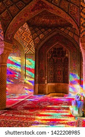 SHIRAZ, IRAN - NOVEMBER 21, 2016: Nasir al-Mulk mosque or Pink mosque, Shiraz, Iran. It was built in 1888 and is known in Persian as Masjed-e Naseer ol Molk.