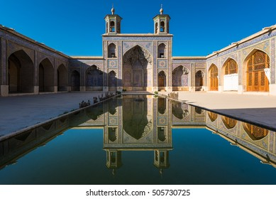 Shiraz, Iran - Oct 20, 2016 : Nasir Al-Mulk Mosque in Shiraz, Iran, also named in popular culture as Pink Mosque. It was built in 1888 and is known in Persian as Masjed-e Naseer ol Molk.