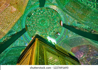 SHIRAZ, IRAN - OCTOBER 12, 2017: The mirrorwork is traditional Persian decor for the Holy Shrines, such as Mausoleum of Imamzadeh Ali Ibn Hamzeh, on October 12 in Shiraz