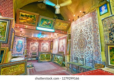 SHIRAZ, IRAN - OCTOBER 12, 2017: Vakil Bazaar is best place to choose tapestries, Persian carpets and authentic rugs, on October 12 in Shiraz.