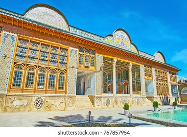 SHIRAZ, IRAN - OCTOBER 12, 2017: Historic Qavam House of Naranjestan complex is one of the most beautiful mansions in city, open for visitors, on October 12 in Shiraz.