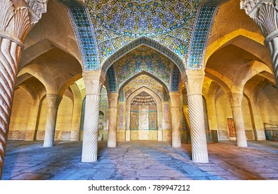 SHIRAZ, IRAN - OCTOBER 12, 2017: Vakil Mosque is one of the medieval religious landmarks of the city, it was constructed in traditional style with carved and tiled elements, on October 12 in Shiraz.