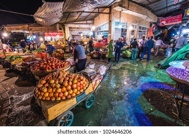 Shiraz, Iran - October 22, 2016: Fruit for sale on a food market in Shiraz city