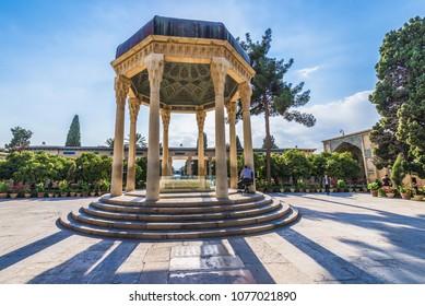Shiraz, Iran - October 23, 2016: Pavilion over Tomb of Persian poet Hafez in Shiraz city