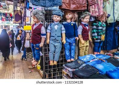 Shiraz, Iran - October 23, 2016: Shop with children clothes on Bazaar on the Vakil Bazaar in Shiraz