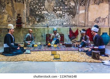 Shiraz, Iran - October 23, 2016: Figures in Vakil Bath, ancient bathouse in Shiraz