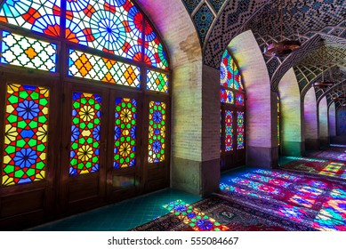 Shiraz, Iran - October 23, 2016: Colored glass in Nasir ol Molk Mosque (Pink Mosque) in Shiraz city in Iran