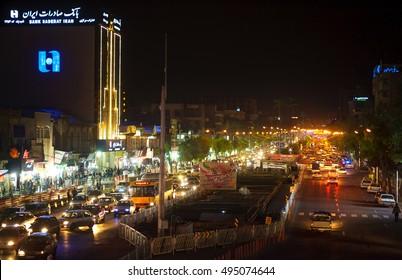 Shiraz, Iran, on April 12, 2016 - View from the bridge but night avenue of the city of Shiraz