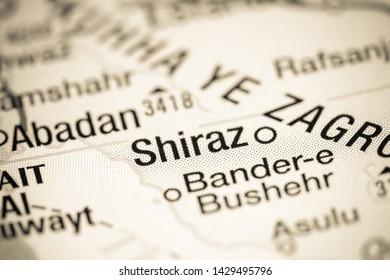 Shiraz, Iran on a map