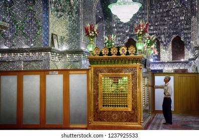 SHIRAZ, IRAN - SEPTEMBER 6: Ali Ebn-e Hamze Imamzadeh  at 6 September, 2018 at Shiraz, Iran. Imamzadeh is a holy tomb of a respected Islamic person in Iran.