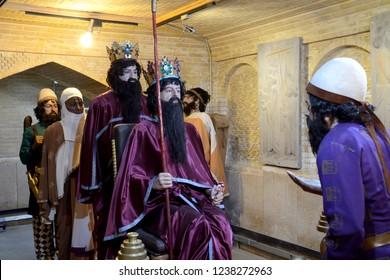 SHIRAZ, IRAN - SEPTEMBER 6: Figure of Xerxes at 6 September, 2018 at Shiraz, Iran. Xerxes was the Great King of Persia.