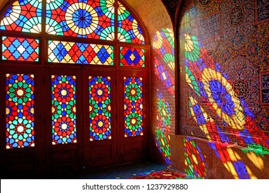 SHIRAZ, IRAN - SEPTEMBER 6: Nasir-ol-Molk Mosque at 6 September, 2018 at Shiraz, Iran. Nasir-ol-Molk is the so-called Pink Mosque, one of the best sight in Shiraz.