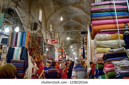 SHIRAZ, IRAN - SEPTEMBER 6: Vakil Bazaar at 6 September, 2018 at Shiraz, Iran. Vakil Bazaar is the biggest arket in Shiraz.