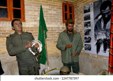 SHIRAZ, IRAN - SEPTEMBER 6: Wax statue of Iranian soldiers from war at 6 September, 2018 at Shiraz, Iran. Iran had an 8-year long war with Iraq.